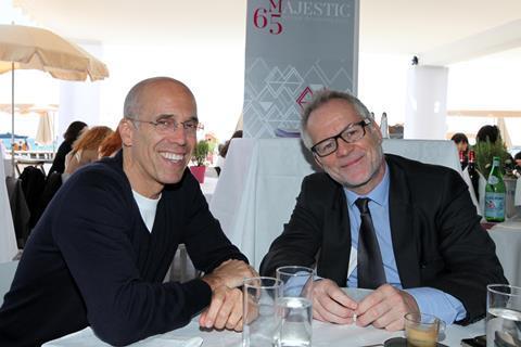 Thierry Fremaux and Jeffrey Katzenberg at Majestic Beach